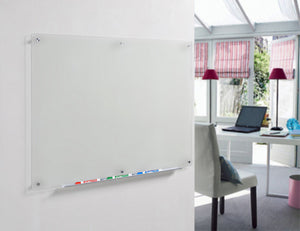 Frosted Glass Dry-Erase Board with Aluminum Marker Tray (Non-Magnetic)