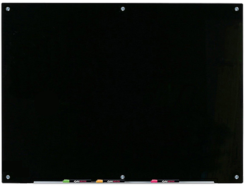 Black Glass Dry-Erase Board with Aluminum Marker Tray