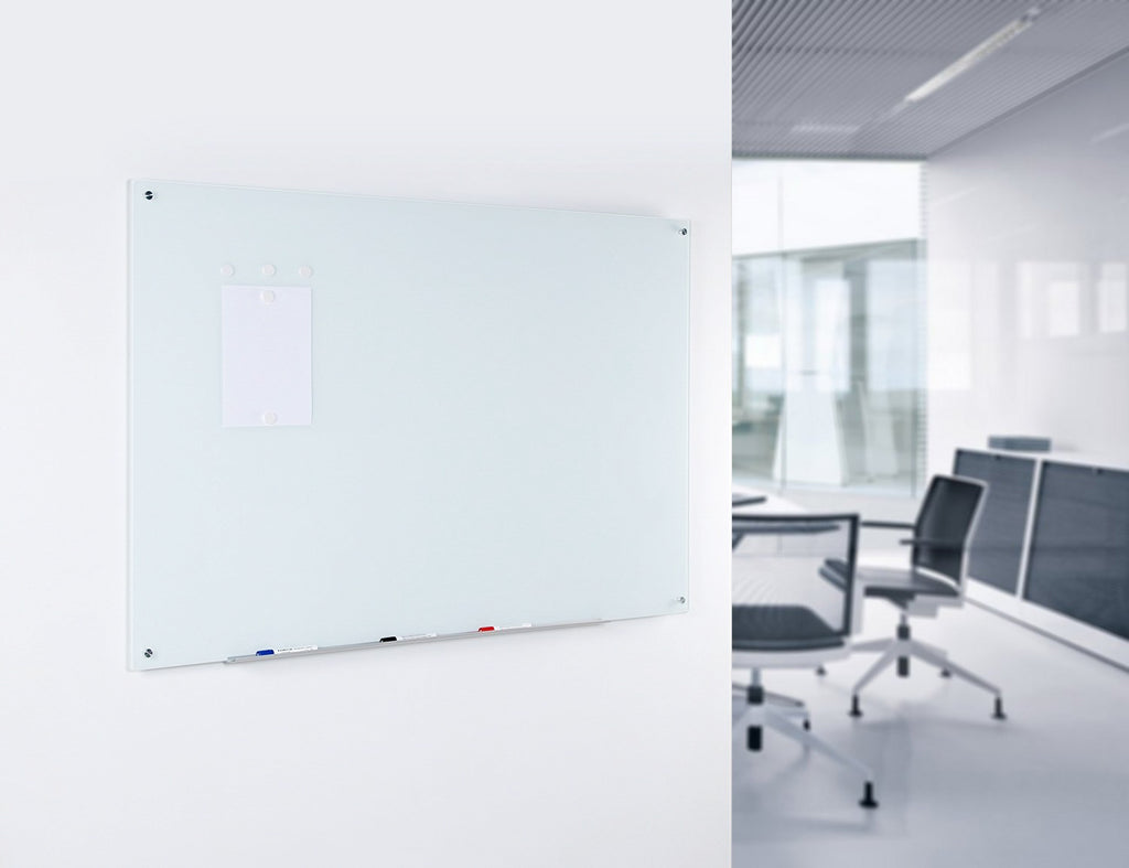 "4' x 6' (48"" x 72"") Pure White Glass Dry Erase Board Wall Mounted in a Industrial Office Setting"