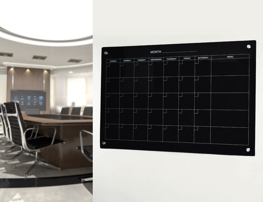 Our Black Magnetic Dry Erase Glass Monthly Calendar.
