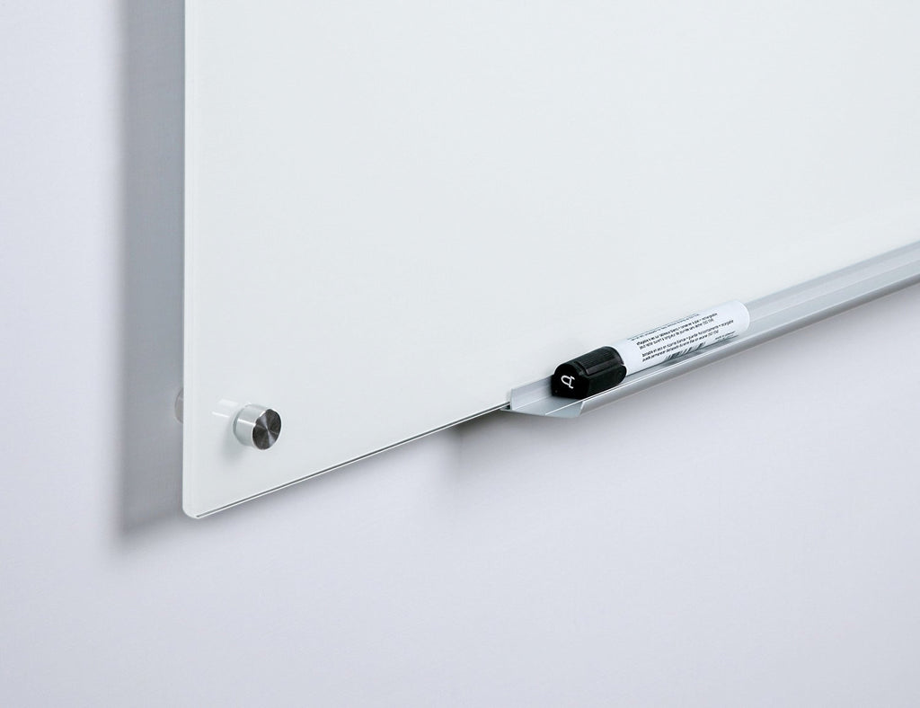 Frame less Brilliance White Glass Board with rounded edges and a marker tray
