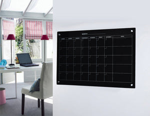 Our Magnetic Glass Board Calendar In an Home Office Setting.