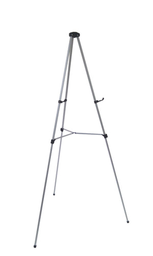 Silver free standing telescoping easels height adjustable