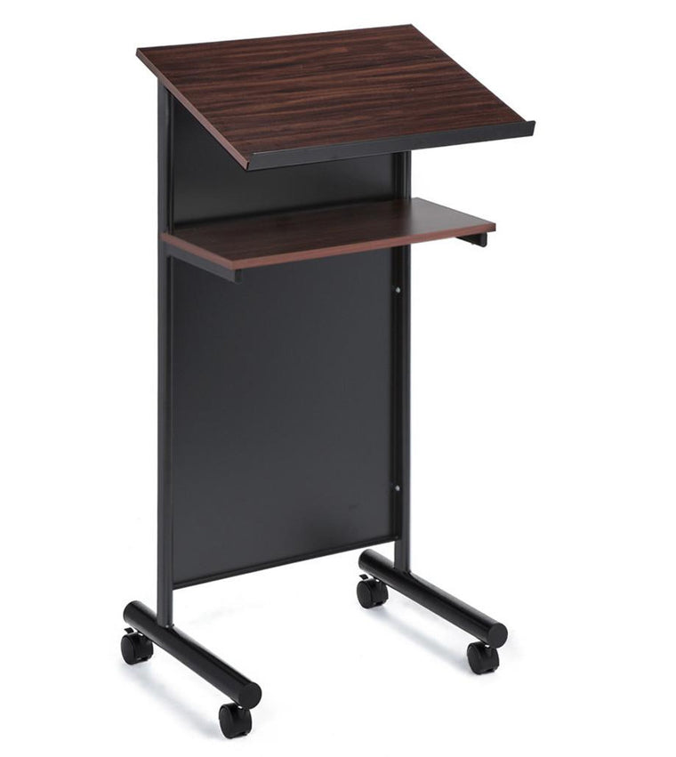 Wheeled Lectern with Storage Shelf