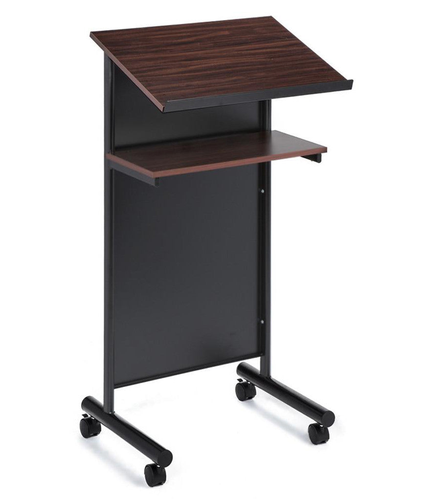 Cherry Black Free Standing Wheeled Presentation Lectern Podium