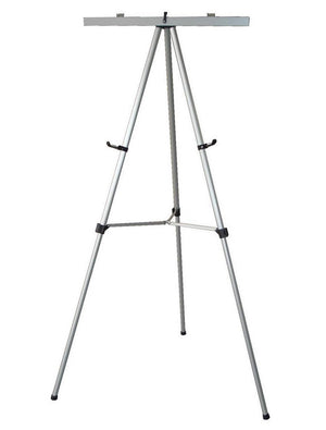 Silver Telescoping Height Adjustable Free Standing Black Aluminum Easel