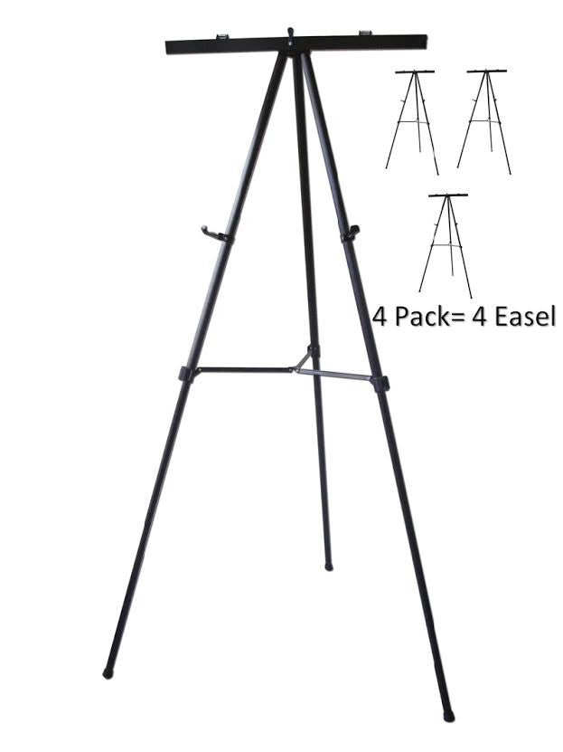 Pack of 4-Lightweight Aluminum Flip-Chart Presentation Easel, Black (4 Pack)