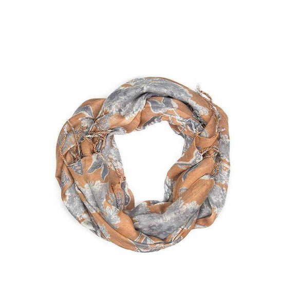 Burnt Orange Leaf Scarf - Silvana Boutique