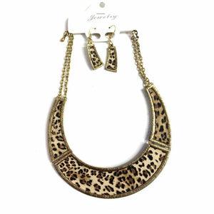 Gold Leopard Print Necklace And Earring Set - Silvana Boutique
