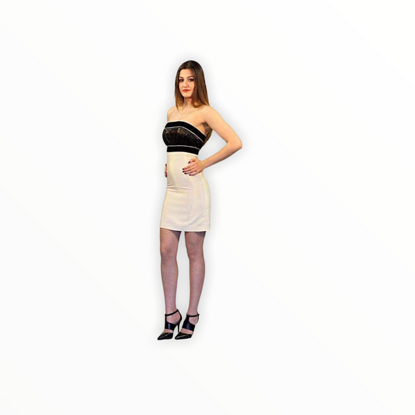 black and white coctail dress mini