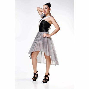 Leather Bodice Dress - Silvana Boutique