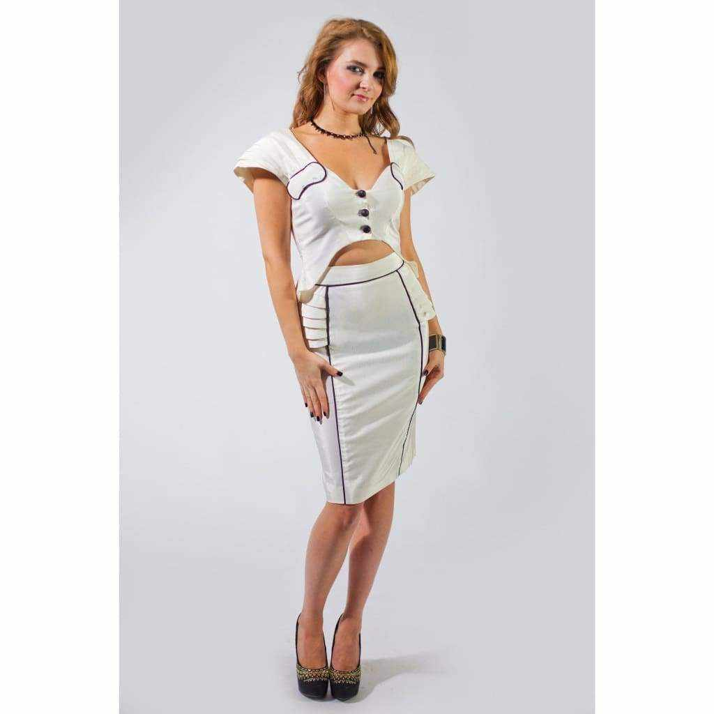 Modern Monochrome fitted Skirt - Silvana Boutique
