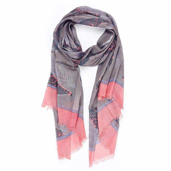 Neon Leaf Print Scarf - Silvana Boutique