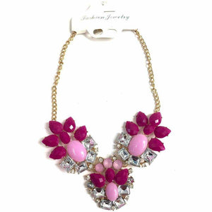 Pink Diamante Necklace - Silvana Boutique