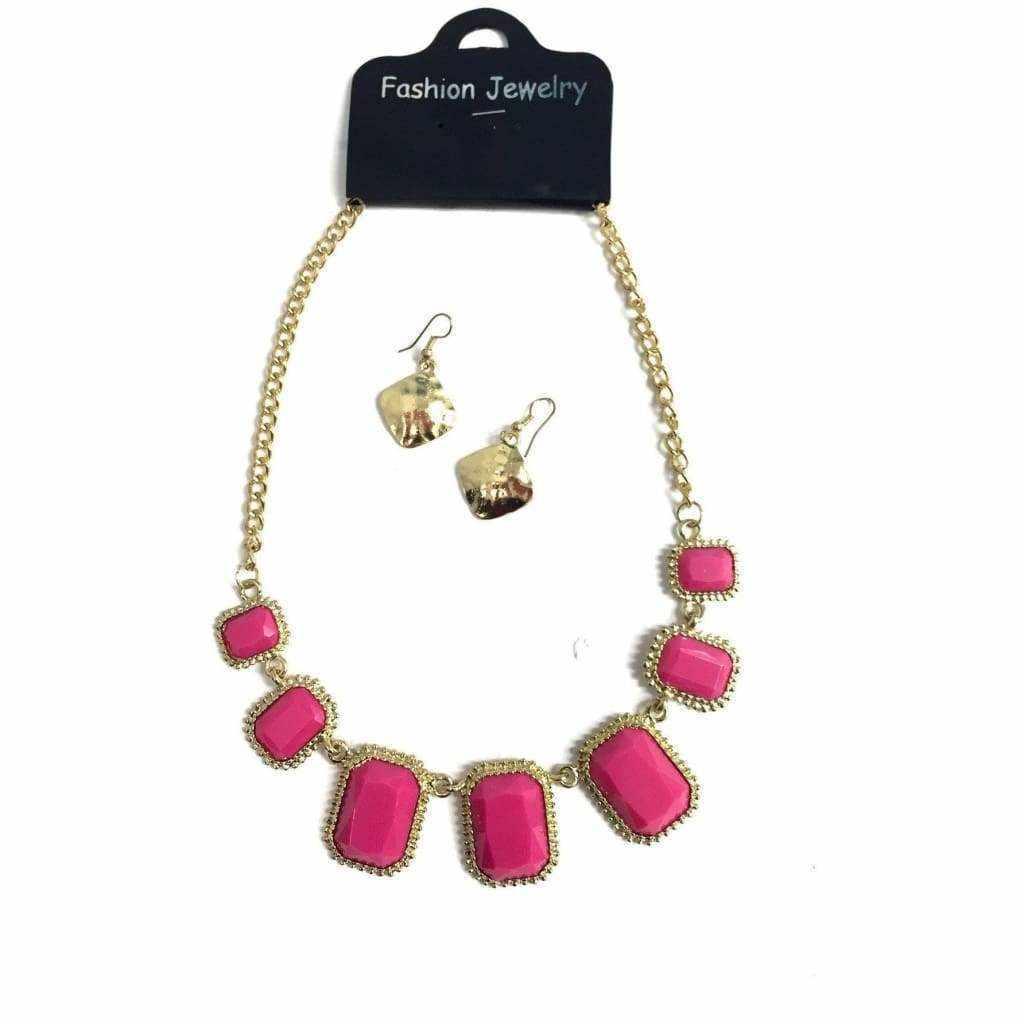 Pink Stone Necklace And Earring Set - Silvana Boutique