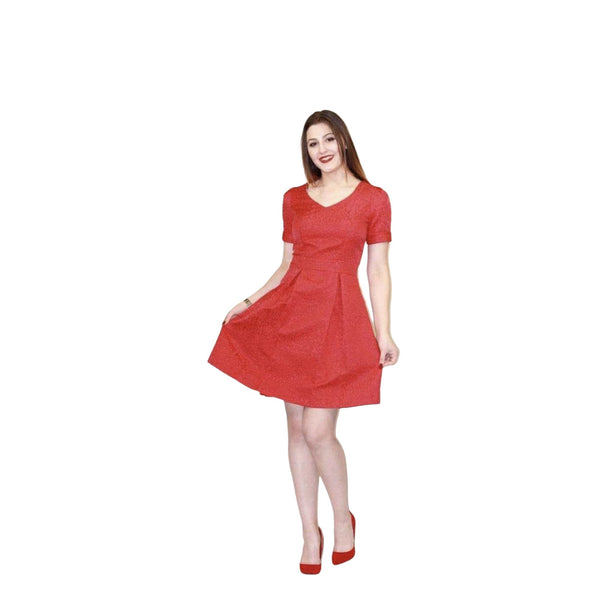 Skater Red Dress Flared with short sleeves - Silvana Boutique