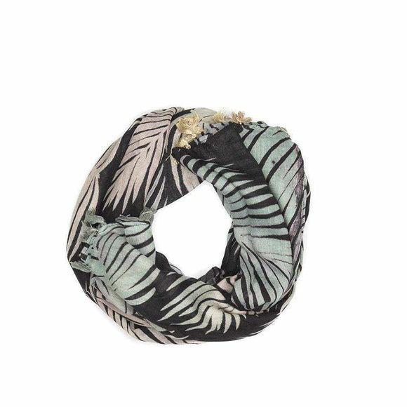 Tropical Leaf Print Scarf - Silvana Boutique