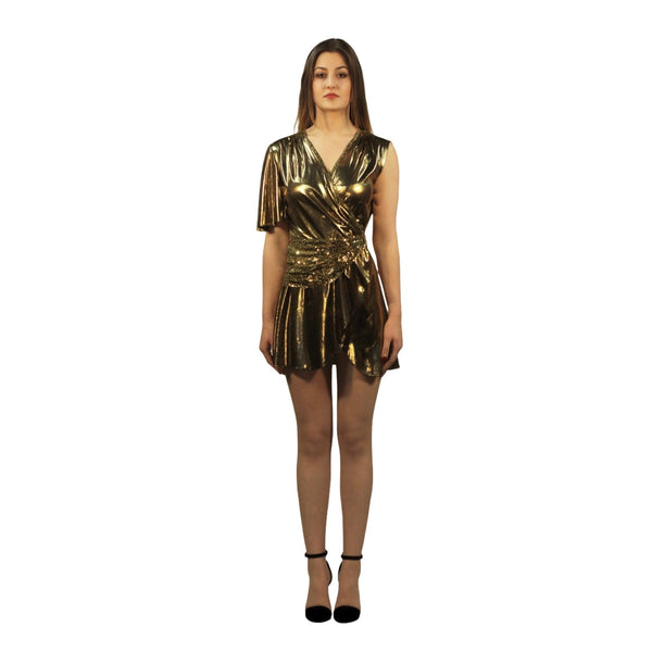 Wrap Gold Metallic Mini Dress - Silvana Boutique