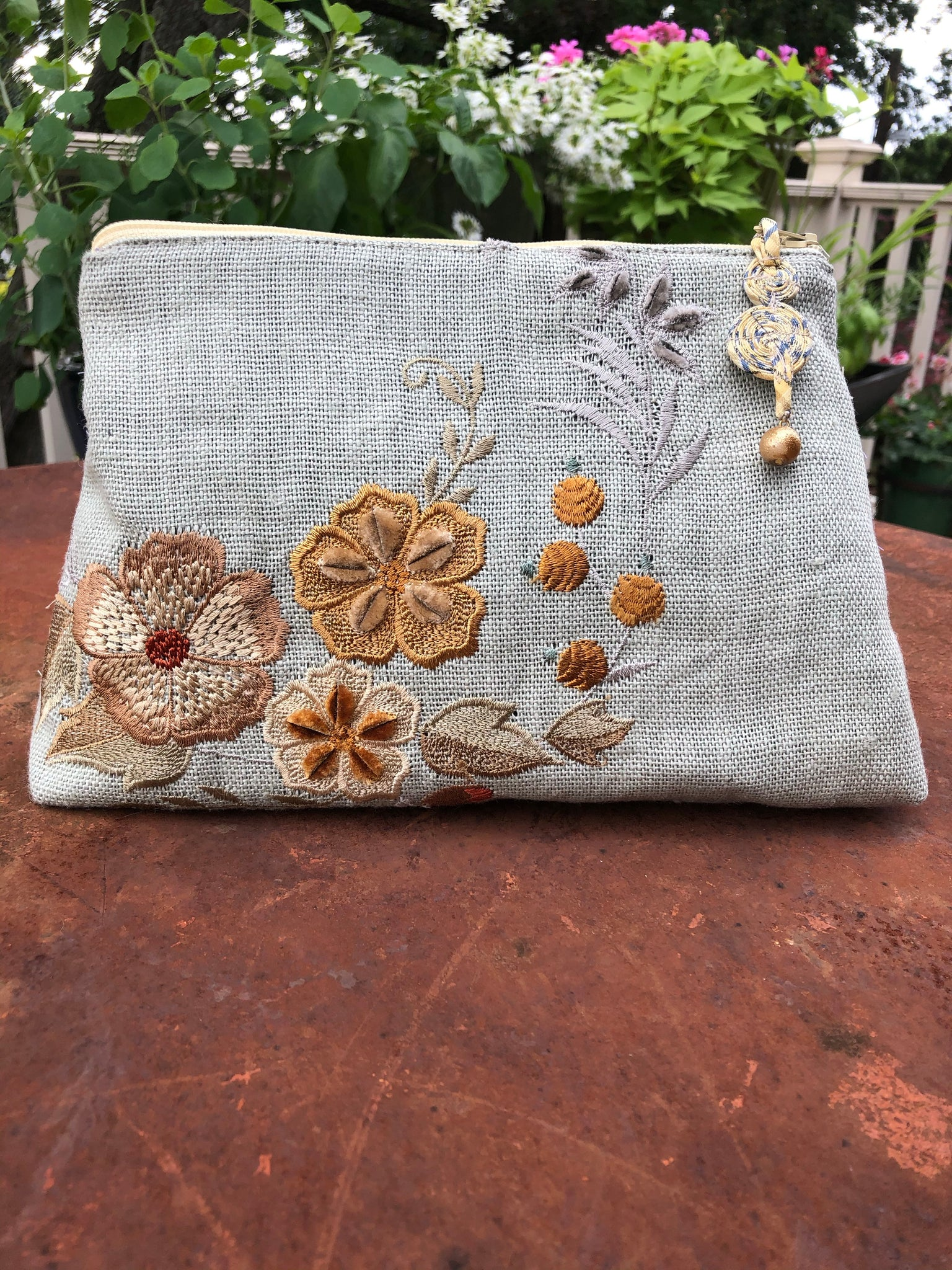 Handmade Floral Embroidered Clutch