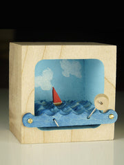 Kinetic Sailboat Sculpture - Blue Sky