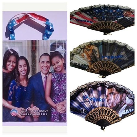 Obama Folding Fan and Family Shopping Bag (1 bag and 1 fan)