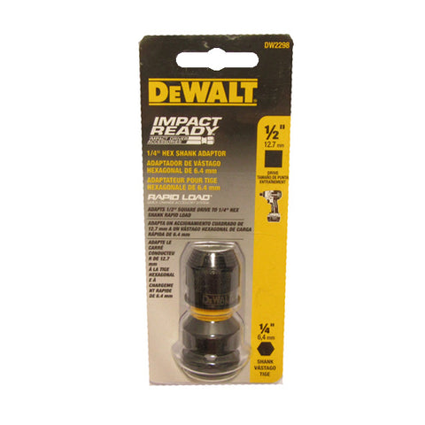 DeWALT DW2298 1/2'' Square Female to 1/4'' Hex Rapid Load Impact Ready Adapter