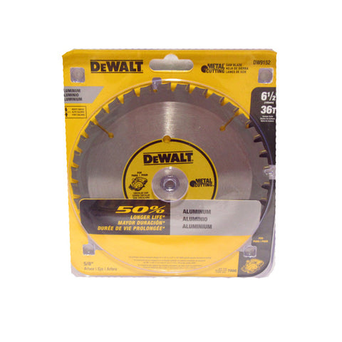 DeWALT DW9152 6-1/2'' x 36 Tooth Yellow Rim Cordless Saw Blade (Aluminum)