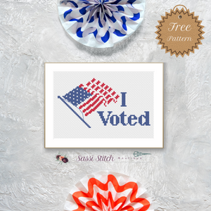 "Free ""I Voted"" Cross Stitch Pattern"