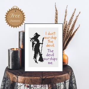 I Don't Worship the Devil, The Devils Worships Me Free Cross Stitch Pattern