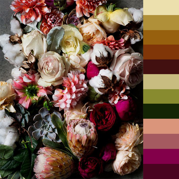 Embroidery Floss Color Palette 2 - Moody Florals