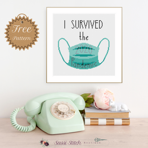 "Free ""I Survived the 2020 Pandemic"" Cross Stitch Pattern"