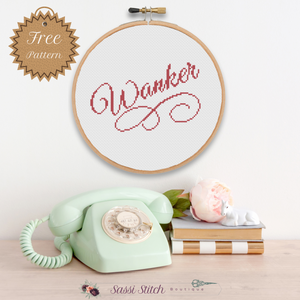 "Free ""Wanker"" Cross Stitch Pattern"