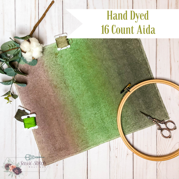 Taupe, Green and Olive 16 Count Ombre Aida - 14