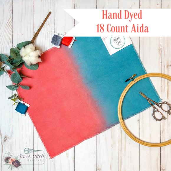 Coral and Turquoise 18 Count Ombre Aida - 14