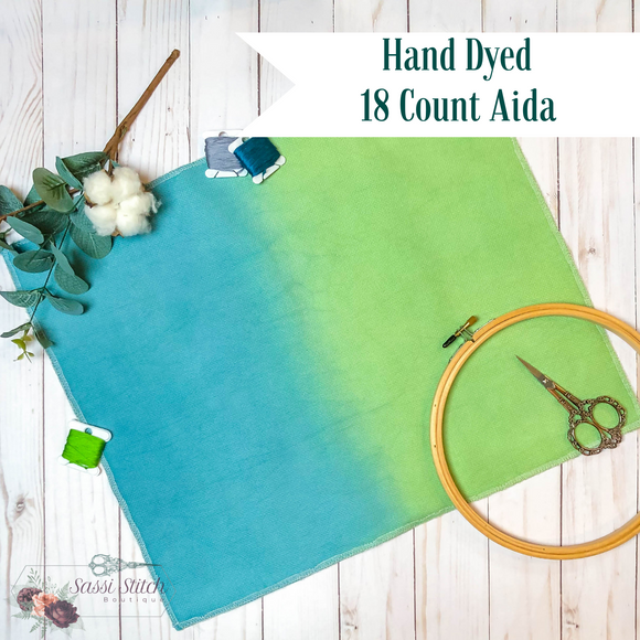 Turquoise and Green 18 Count Ombre Aida - 17