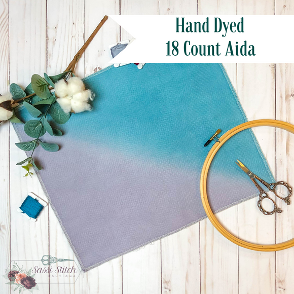 Turquoise and Grey 18 Count Ombre Aida - 14