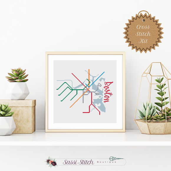 Boston Transit Map Cross Stitch Kit