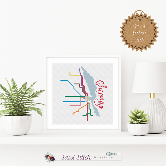Chicago Transit Map Cross Stitch Kit