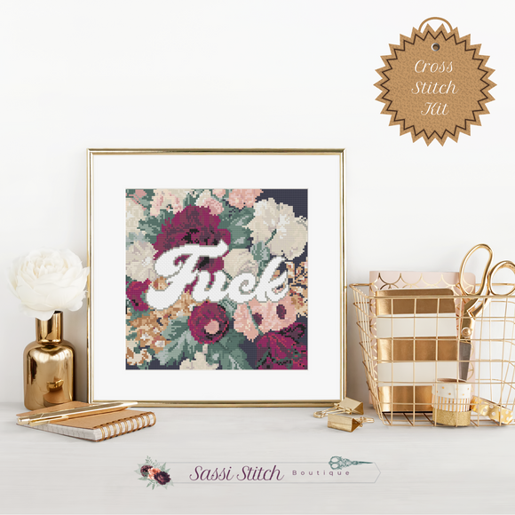 Dark Floral Fuck Cross Stitch Kit