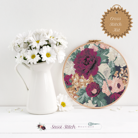 Dark Floral Cross Stitch Kit