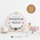 Disgruntled Pelican Cross Stitch Kit - Sassi Stitch Boutique