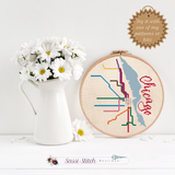 Chicago Transit Map Cross Stitch Pattern - Sassi Stitch Boutique