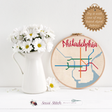 Philadelphia Transit Map Cross Stitch Pattern - Sassi Stitch Boutique