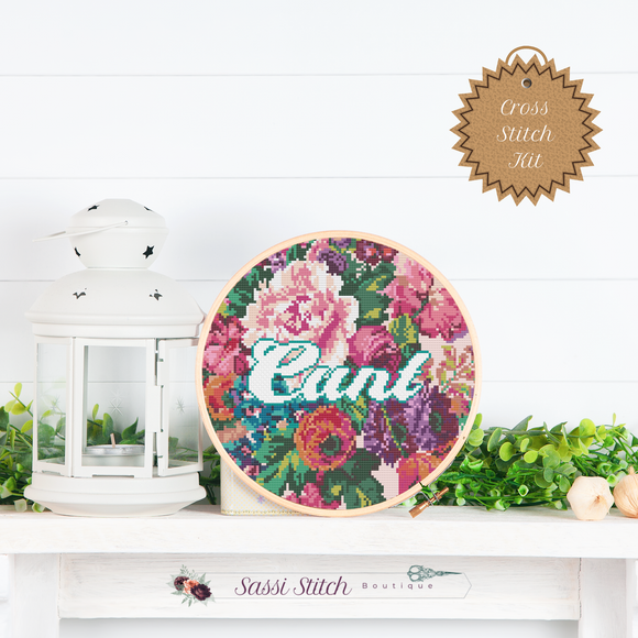 Floral Cunt Cross Stitch Kit