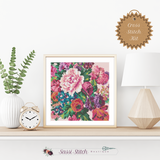 Large Floral Print Cross Stitch Kit