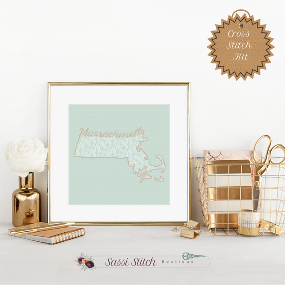 Massachusetts Blackwork Cross Stitch Kit - Sassi Stitch Boutique