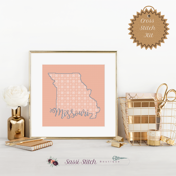 Missouri Blackwork Cross Stitch Kit - Sassi Stitch Boutique
