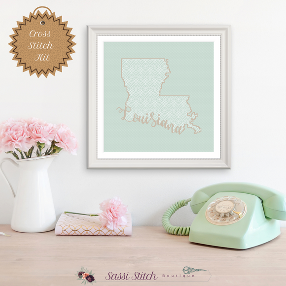 Louisiana Blackwork Cross Stitch Kit - Sassi Stitch Boutique