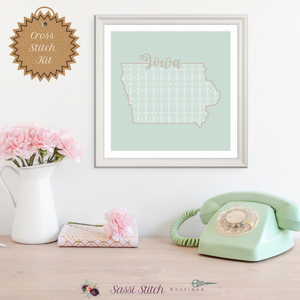 Iowa Blackwork Cross Stitch Kit - Sassi Stitch Boutique