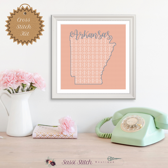 Arkansas Blackwork Cross Stitch Kit - Sassi Stitch Boutique